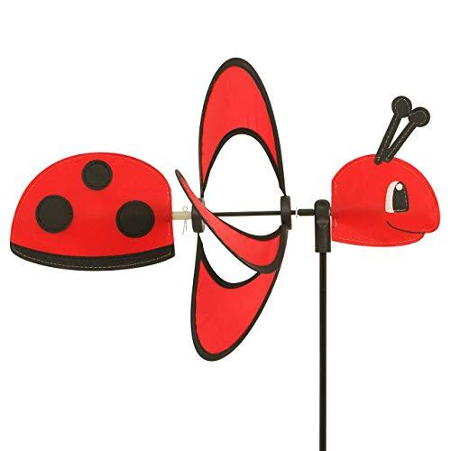 CIM Campana de Viento - Little Magic Ladybird - Resistente a los Rayos UV y a la Intemperie - Rueda de Viento: Ø28cm, Motivo: 35 x 13 cm, Altura Total: 85 cm, Incluye Varilla de Fibra de Vidrio