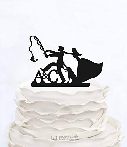32Butler Custom Cake Topper Angeln Initialen Cake Topper Hochzeitstorte Topper mit Hund Made in Italy Benutzerdefinierte Cake Topper Personalisierte Cake Topper