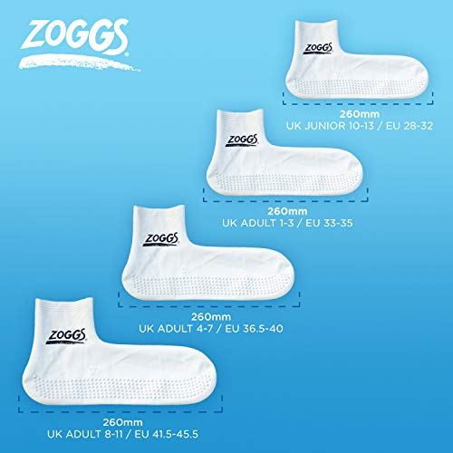 Zoggs Latex Pool Socks 300738 -Assorted (White / navy) , Large