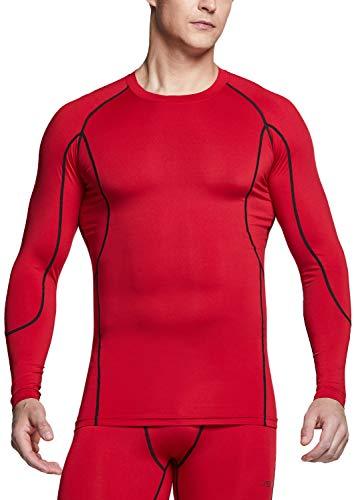 TSLA Herren Cool Dry Fit Langarm-Kompressionshemden, Athletic Workout Shirt, Active Sports Base Layer T-Shirt, Mud31 1pack - Red, XXL