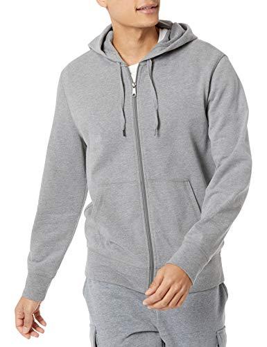 Amazon Essentials Lightweight French Terry Full-Zip Hooded Sweatshirt Felpa con Cappuccio, Carbone Puntinato, M