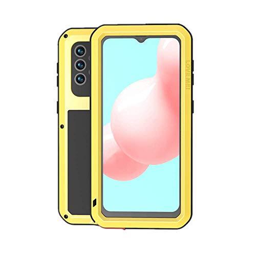 LOVE MEI Funda para Samsung Galaxy A32 5G, Heavy Duty al Aire Libre de Armadura Metal Estuche Protectora Carcasa Antigolpes Impermeable a Prueba de Polvo Cubierta con Vidrio Templado (Amarillo)