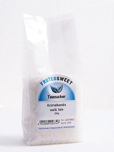 FRUTEG Kandiszucker weiß fein I 5x 250g feiner weißer Zuckerkandis - im Klarsicht-Präsent-Beutel I knisternder Tee-Zucker - nicht nur für Ostfriesen-Tee I weißer feiner Kluntje Kandis 5x 250 g