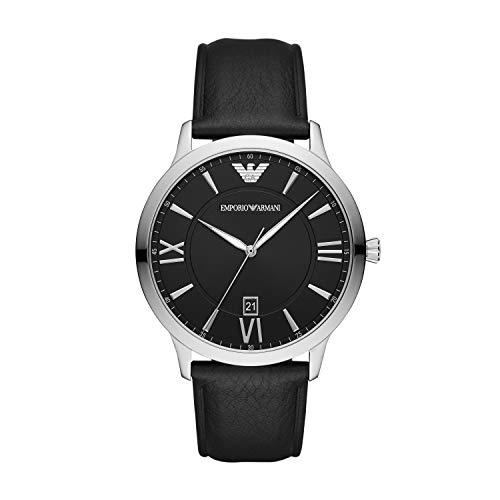 Emporio Armani Herren Analog Quarz Uhr mit Leder Armband AR11210