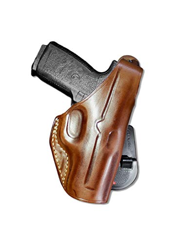 Premium Leather OWB Paddle Holster with Thumb Break Fits, Kahr K9/P40/CW40/P45/CW45, PM9, PM45, P380, CM9, Right Hand Draw, Brown Color (Kahr K9/P40/CW40/P45/CW45) #1112#