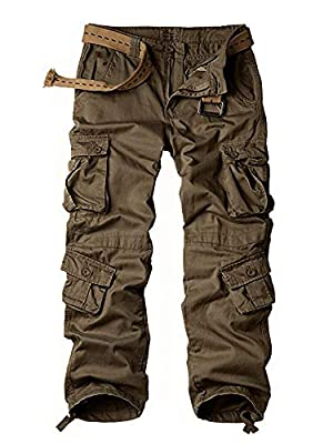 Women's Cotton Casual Military Army Cargo Combat Work Pants with 8 Pocket Brown US 4