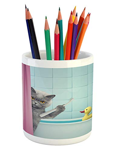 Lunarable Funny Pencil Pen Holder Image of Cat Holding a Toothbrush at Bathroom and Toy Rubber Duck in Bathtub Ceramic Pencil Holder for Desk Office Accessory 36 X 32 Multicolor
