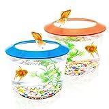 Pet Living - Tanque de peces pequeños y acuarios para peces y peces pequeños, juego completo para peces de peces con grava (azul o naranja)