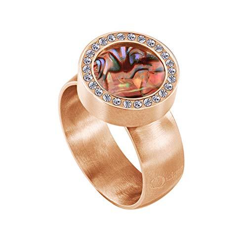 Quiges Rosegold Ring Edelstahl Matt 12mm Mini Coin Halter Wechselring mit Zirkonia und Austauschbare Red Abalone Shell Coin in der Größe 19mm