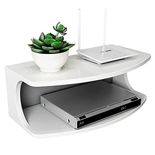 Estante Flotante Sala De Estar TV Set-Top Box Rack Soporte para Proyector Enrutador Multifunción Caja De Almacenamiento Montaje En Pared Perforación Libre (Color : Blanco, Size : 50 * 25 * 18cm)