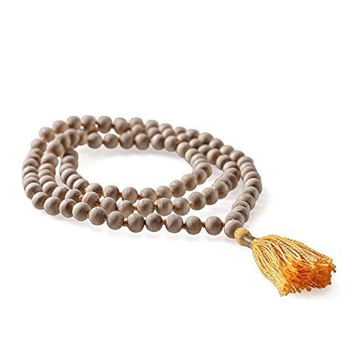 Lotuscrafts Tulsi Mala Kette - Buddhistische Gebetskette aus 108 Tulsi-Holz Perlen