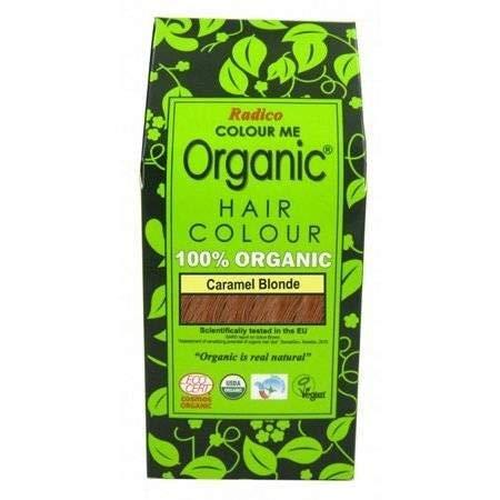 RADICO - 100% Natural Coloraciòn de Cabello - Caramelo Rubio - Cubre el Cabello Gris - Protege y Nutre - Certificado por Ecocert - 100 g
