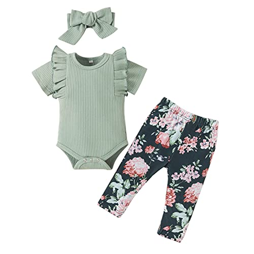 Infant Baby Girl Clothes Autumn Outfits Ruffle Romper Top Floral Pants Bow Headband Sets 3PCS (3-6 Months)