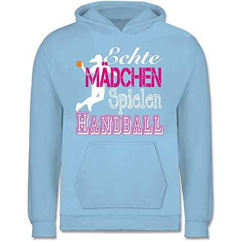 Sport Kind - Echte Mädchen Spielen Handball weiß - 140 (9/11 Jahre) - Hellblau - echte Maedchen Spielen Handball - JH001K JH001J Just Hoods Kids Hoodie - Kinder Hoodie