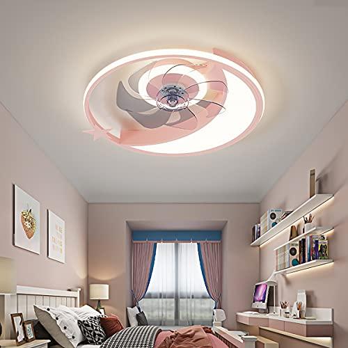 Lámpara De Techo Con Luz Y Mando A Distancia Ventilador De Techo Con Luz Moderna Silencioso 3 Velocidades Regulable 3 Colores Ventilador Luz Techo-Aspas Decoración De Interiores,Rosado