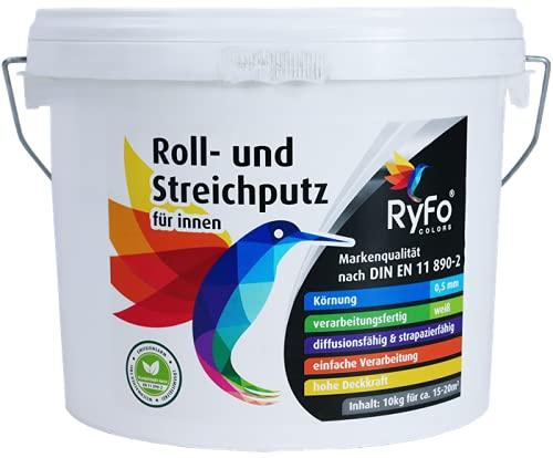RyFo Colors Roll- und Streichputz für innen 10kg (Größe wählbar) - Rollputz für den Innen-Bereich, strahlend weiß mit edler feinkörniger Struktur, einfachste Verarbeitung