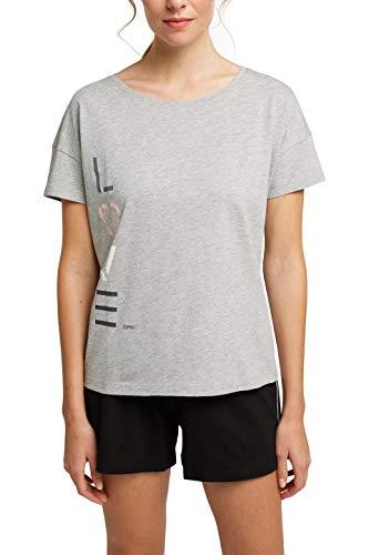 ESPRIT Bodywear Damen GOLDAH CAS NW Shorty Pyjamaset, Light Grey (040), 40