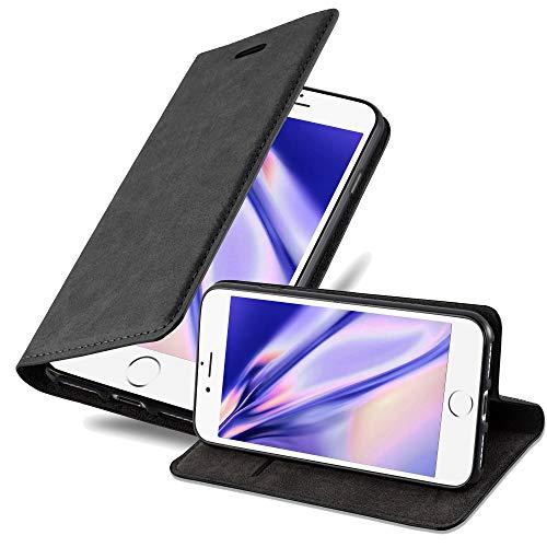 Cadorabo Hülle für Apple iPhone 8 Plus / 7 Plus / 7S Plus - Hülle in Nacht SCHWARZ – Handyhülle mit Magnet, Standfunktion und Kartenfach - Case Cover Schutzhülle Etui Tasche Book Klapp Style