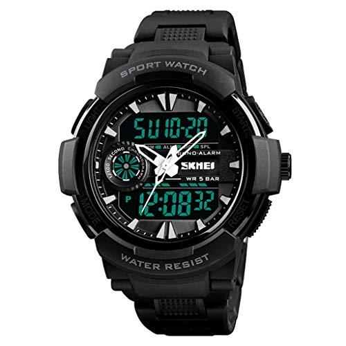 Orologio da uomo Luminoso Deportivo, Reloj de Alarma Impermeable de Acero Inoxidable con Doble Pantalla. (Color : A)