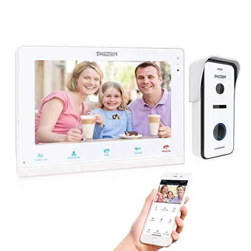TMEZON Videoportero Wifi Sistema de intercomunicación, Monitor 10 zoll con timbre con cable, tecnología de 4 cables, Desbloqueo Remoto, visión nocturna, instantánea / grabación, Tuya Smart APP