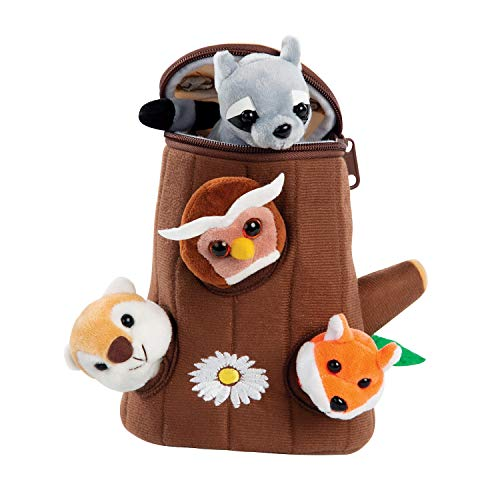 Etna Forest Friends Plush Talking Stuffed Animals Set  Plush Toy Set for Kids Babies Toddlers  5 Piece Set Baby Stuffed Animals Includes Tree Carrier  Owl  Squirrel  Raccoon & Fox with Animal Noises