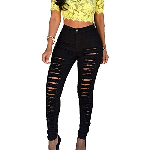 LILIZHAN Nieuwe Zwarte Jeans Vrouw Hoge Taille Push Up Skinny Ripped Jeans Denim Pant Sexy Dames JeansWomen Broek