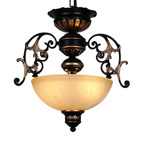 Lámparas colgantes rústicas ajustables en altura vintage pasillo Lámpara de mesa de comedor Antiguo 2 luces pantalla de vaso E27 Lámpara de techo retro para dormitorio de baño de salón Ø38*H35cm