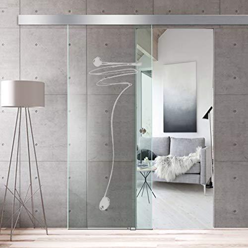 Puerta corredera de cristal para diseño de interiores Boss Roma 8 mm de grosor vidrio templado de seguridad nano revestido, accesorios de acero inoxidable, blanco, 95x215 cm