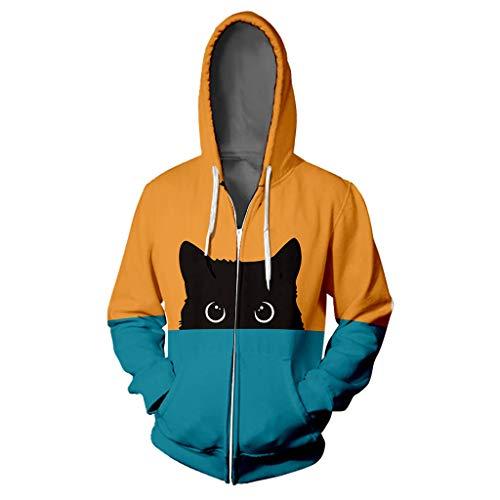 Supertong Hoodie Damen Kapuzenpullover Mode Farbverlauf Patchwork Kapuzenjacke Hoodies für Mädchen Jugend Katzen Paar Pullover Sweatshirt Herbst Winter Mit Kapuze Mantel Jacke Sweatjacke