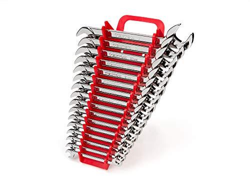 TEKTON Angle Head Open End Wrench Set, 16-Piece (10-27 mm) - Holder | WAE91202