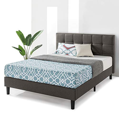Best Price Mattress Full Bed Frame Zoe Upholstered Platform Beds with Tufted Headboard and Wooden Slats Support (No Box Spring Needed), Full