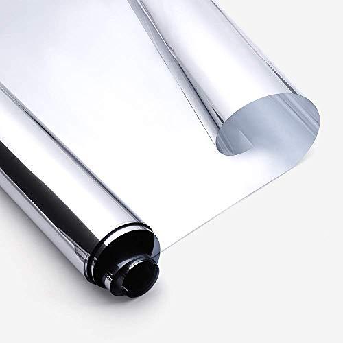 rabbitgoo Adhesive Window Mirror Film Zweiwege-Blendschutzspiegeleffekt für Fenster Hitzebeständiger Spiegel Papierblatt Einweg-Verdunkelungsspiegel Sonnenschutz Anti-UV-Silber 44,5 x 200 cm