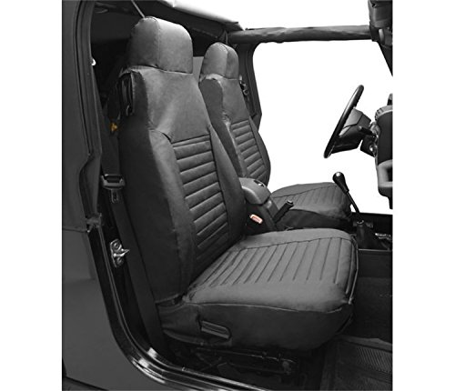 Bestop 2922615 Black Denim Seat Covers for Front High-Back Seats - Jeep 1997-2002 Wrangler; Sold as Pair; Fit Factory Seats