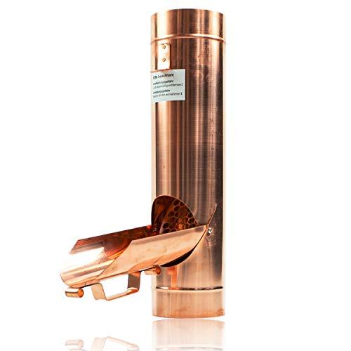 Kupfer Regenrohrklappe 100 mm mit Edelstahl Sieb für Fallrohr - Fallrohrklappe als Regenwassersammler für Regentonnen, einfache Montage dank konischer Form & passgenauem Übergang - Inkl. Bleistift