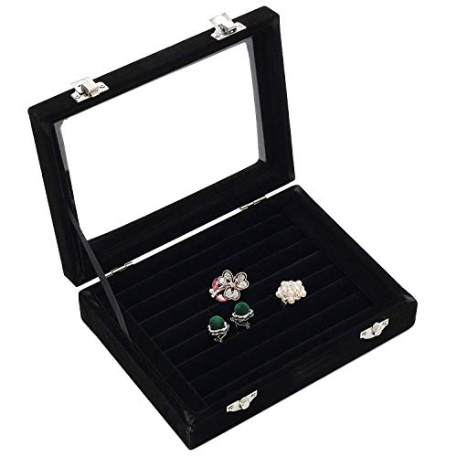 Basuwell Earring Storage 7 Slots Velvet Jewelry Tray for Drawers Glass Clear Lid Showcase Display Ring Organizer Earring Ring Trays Holder Cufflink Showcase-Black …