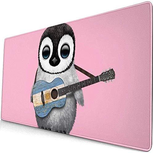 Mauspad, rutschfestes, wasserdichtes Mousepad auf Gummibasis für Laptop-Baby-Pinguin, der die Gitarre mit argentinischer Flagge LMP-1735 spielt