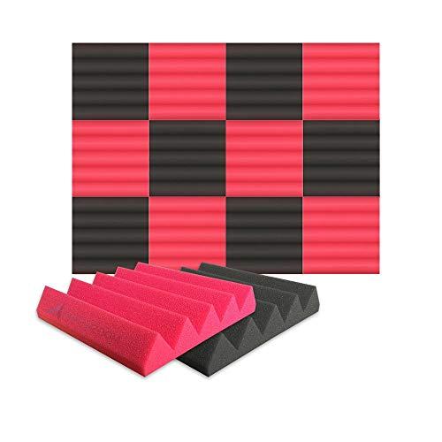 Arrowzoom 12 Panels Cuña Wedge absorción de sonido Espuma acústica Absorcion aislamiento acustico auto extinguible 25x25x5cm Negro & Rojo