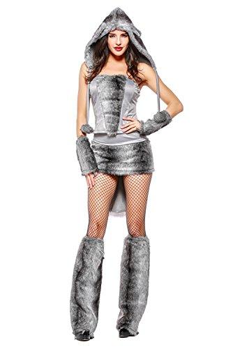 Damen Sexy Wolf Tierkostüm für Fasching Karneval Fasnacht Cosplay Kostüm Grau