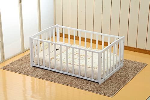 ヤマサキ おふとんサークル(ひのきすのこ床板付き) ホワイト 幅78×長さ124.4×高さ51cm