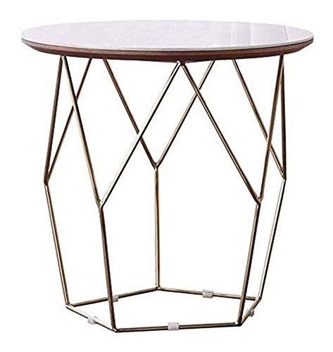 WSHFHDLC coffee table End Tables Nesting End Tables Living Room Contemporary Side Tables Furniture for Home and Office Metal Frame and Round Marble Top small coffee tables (Size : Small)