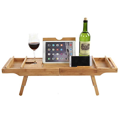 Bandeja de baño multifuncional con patas extensibles, resistente bandeja de cama de bambú para bañera con soporte para vino y soporte para tableta, bandeja de cama de baño ajustable, tamaño máximo