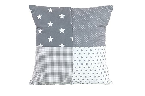 Funda patchwork para cojín de ULLENBOOM ® con estrellas grises (funda para cojín de 40x40 cm; 100% algodón; ideal como cojín decorativo para la habitación de los niños)