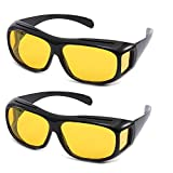 Gemgoo 2PCS High Definition Night Vsion Driving Sunglasses Wrap Around Glasses with Anti Reflective Coating