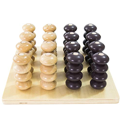 TOYANDONA 1 Set of 3D Four in a Row Wooden Strategy Game Connect Four Chess Educational Toy Thinking Game for Kids Adults