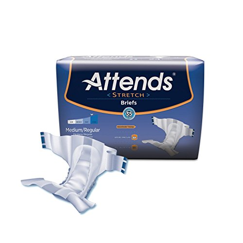 Attends Stretch Briefs with Advanced Dry-Lock Technology for Adult Incontinence Care, Medium/Regular, Unisex, 96Count