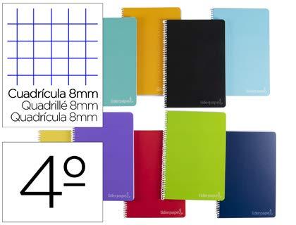 Cuaderno espiral liderpapel cuarto witty tapa dura 80h 75gr cuadro 8mm con margen colores surtidos. (5 Unidades)