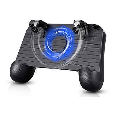 Welltop Mobiler Controller für PUBG Mobile Game Controller Gamepad vereinfachter Gamecontroller mit Telefonlüfter und Power Bank Funktion für 4-6,4 Zoll Android iOS iPhone Samsung Huawei Smartphone