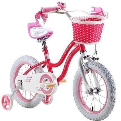 Vélo R-Baby pour Enfant Fille 30,5cm 35,6cm 40,6cm Rose Bleu + Roulettes amovibles réglables et résistantes + Panier Avant, Rose, 12_UK