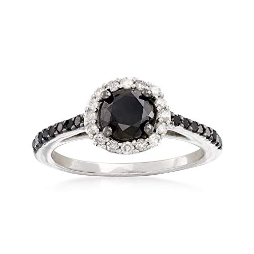 Ross-Simons 1.50 ct. t.w. Black and White Diamond Halo Ring in Sterling Silver. Size 7