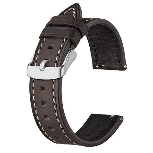 BISONSTRAP Correas de Reloj de Cuero 22mm, Correa de Repuesto de Liberación Rápida para Hombres y Mujeres, Gris Marrón